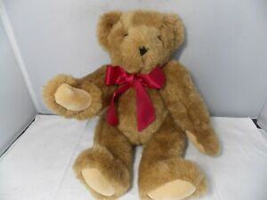 """Vermont Classic Teddy Bear w/Red Bow Jointed Arms & Legs 16"""""""