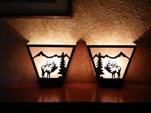 Awsome Laser Cut Steel BULL ELK ANYWHERE SCONCE Pair X2  Lamp cabin home decor
