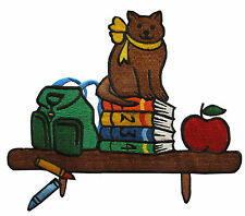 """7-1/2"""" BookSchoolbagCatApple on the Desk Embroidery Iron On Applique Patch"""