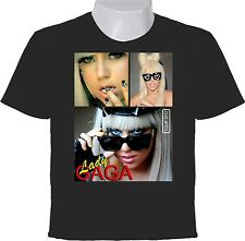 LADY GAGA T-SHIRT - SINGER  SONGWRITER RECORD PRODUCER - PHOTO COLLAGE