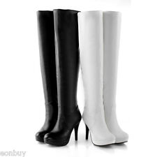 Black White Synthetic Leather High Heels Zip Over Knee Boots Shoes AU Size b076