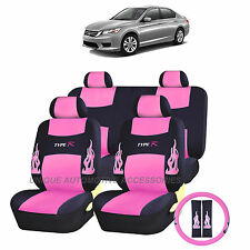 PINK FLAMES COMPLETE SEAT COVERS 13PC SET for HONDA ACCORD