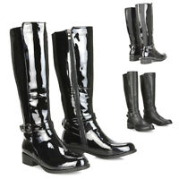 Womens Knee High Boots Ladies Black Flat Biker Riding Elastic Gusset Size 3-8
