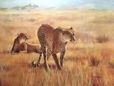 Cheetahs 18x24 Original  oil on canvas By Alice Hurlbert, Oklahoma Artist