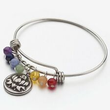 New! 304 Stainless Steel Bangle with 7 Chakra Healing Stones and Lotus Ohm Charm
