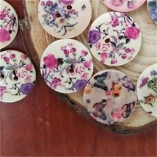 Mini Useful 50Pcs Button Retro Round Wood Mixed Two Holes Buttons Print Button