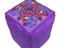 Purple Peacock Pouf Footstool Cover Embroidered Floor Seat Ottoman Slipcover 16""