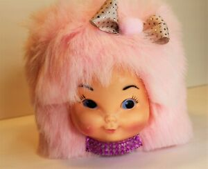 VINTAGE STYLE RETROS PINK KITSCH DOLL FACE HEAD HAIR BOX TISSUE COVER EASTER!