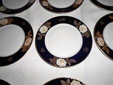 """12 Vtg. Echt Kobalt Bavaria Blue Gold Floral 6 1/4"""" Dessert Plates - Excellent"""