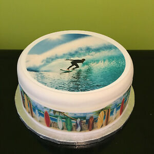 Surf Surfing 01 pre-cut Edible Icing Cake Topper or Ribbon
