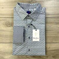 Robert Graham Amberley Dark Navy Blue Button Front Flip Cuff Shirt Large $198