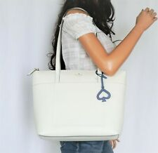 Kate Spade Patrice Large Leather Shoulder Tote Bag Optic White