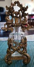 Elaborate 19Th Century French Glass & Ormolu Vanity Perfume Bottle W/ Cupid