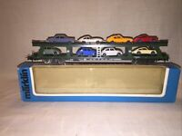 Marklin HO 4074 - Car Transporter Wagon With 8 Wiking Cars - EX Boxed