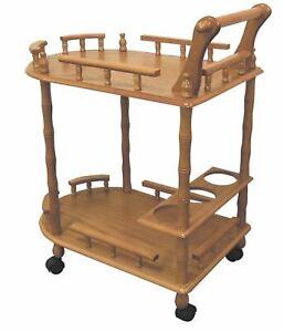 Oak Finish 2 Tier Wooden Serving Cart Rolling Beverage Storage Wine Rack Table