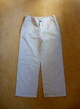 Noa Noa Ecru/beige wide leg linen & cotton mix smart trousers med. 12 turnups