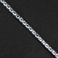 925 Sterling Silver Natural Gemstone 4x5 mm Oval Cut White Topaz Tennis Bracelet