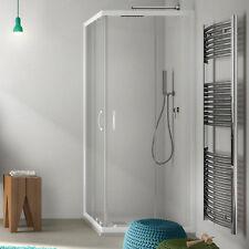 Box doccia 80 x 80 cm in cristallo trasparente con profili in alluminio bianco