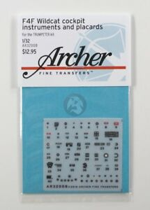 Archer 1/32 F4F-3/4 Wildcat Instruments and Cockpit Placards (Trumpeter) AR32008