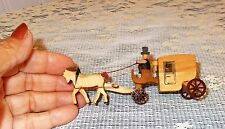 Vtg Erzgebirge Miniature Horse Drawn Stage Coach Natural Wood DDR Germany