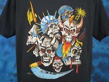 vintage 80s MEDIEVAL SKULL PAPER THIN T-Shirt M/L punk rock biker skeleton NOS