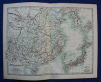 Original antique map CHINA, JAPAN,  KOREA, A.K. Johnston, 1896