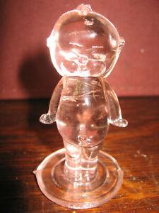 Pink clear glass Boyd art girl Kewpie doll child pygmy cupie / figurine winged