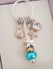 Beautiful Three Tone Clam Shell Starfish Crystal Beach Themed Keyring Key Ring