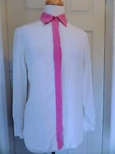 Prada Silk White/Pink Shirt Top Size M *VGC* Made in Italy