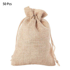 50 Pcs Christmas Drawstring Burlap Bags Xmas Party Candy Gift Bag Package Pouch