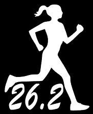 26.2 MARATHON RUNNER Vinyl Decal Sticker Car Window Wall Bumper Running Woman