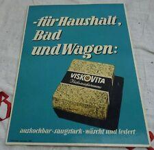 altes Pappschild Viskovita - für Haushalt, Bad und Wagen Viskose Schwamm