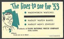 1953 ELGIN IL ELGIN NATIONAL WATCH CO SALESMANS CALLING CARD