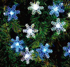 50 LED SNOWFLAKE BLUE&WHITE SOLAR CHRISTMAS WEDDING PARTY STRING LIGHTS