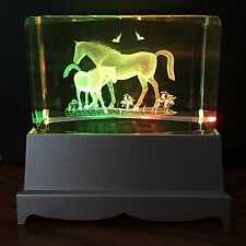 Horse Foal 3D Laser Crystal Block with LED Colour Change Base Night Light (236)