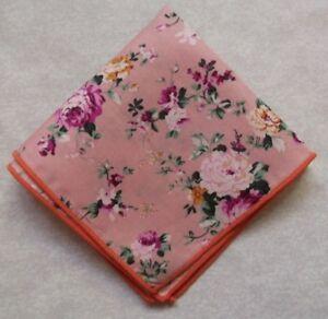 "Mens Pocket Square Hankie Handkerchief NEW ROSES FLOWERS FLORAL 8.5"" X 8.5"""