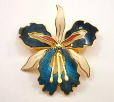 Vintage Enamel Cloisonne Iris Flower Brooch Pin Gold Tone Red White Blue