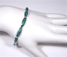 """Blue Turquoise Inlay 925 Sterling Silver Link Tennis Bracelet 7-1/2 """" - 8''"""