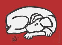 JACQUELINE DITT - Dog - Dark Grey Miniatur ltd.Druck Grafik ger.signiert Hund