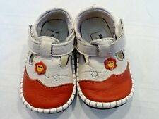 Beige & Red Slip on leather shoes s:12-18mo.XIAOLI