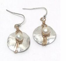 Metal Circle Freshwater Pearl Earrings
