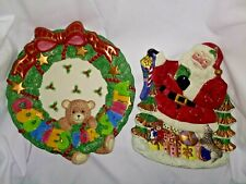 Fitz and Floyd Christmas Lot of 2 Plates Cookies for Santa & Toyland Lukahea