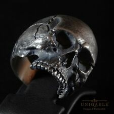 Biker Sterling Silver Harley Skull Ring Davidson Size Half Jaw Man by UNIQABLE