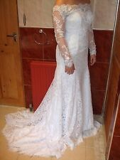 Wedding Dress SIZE 12 A-line Off-the-shoulder Lace Long Sleeve Train NEVER USED