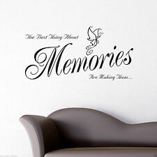 Memories Wall Art Sticker Lounge Room Quote Decal Mural Stencil Transfer WSD517