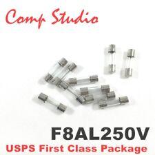 10pcs F8AL250V 8A 250V Fast Blow Fuse Quick Blow Glass Fuse 5mmX20mm US Stock