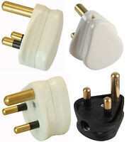 Pro-Elec 3 Pin Round Mains Wall Light Plug 2A 5A 15A packs of 1 2 5 or 10