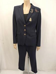 RIANI RR Designer Anzug Hose Gr.42  & Blazer Gr.40 Jacke Perlen Strass Blau
