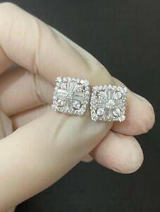 Men Real Solid 14k White Gold 925 Silver Iced Baguette Diamond Hip Hop Earrings