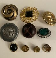 Vintage Lot Of 10 Different Buttons Plus 83 Free Buttons, Collective/ Sewing